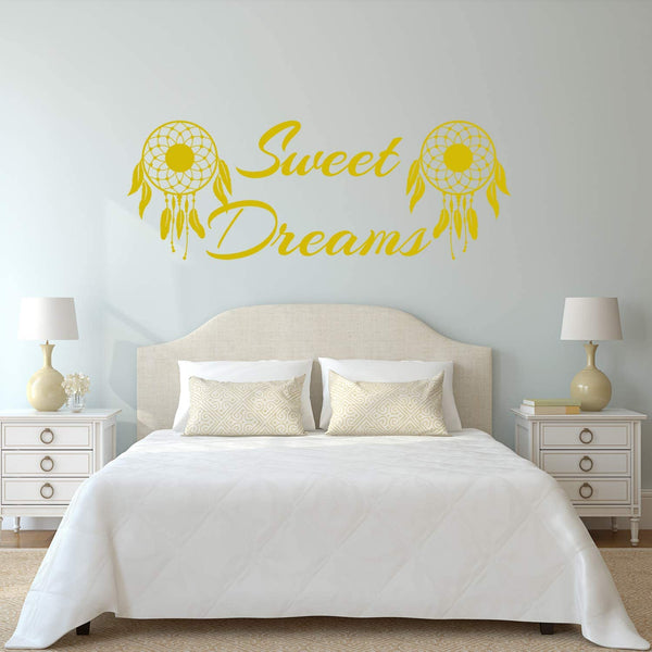 VWAQ Sweet Dreams Wall Decal Nursery - Dream Catcher Decor Kids Night Time Sticker