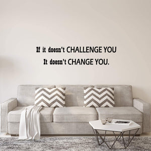 VWAQ If It Doesn't Challenge You It Doesn't Change You Wall Decal Inspirational Classroom Quotes