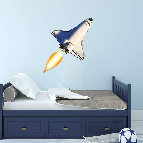 VWAQ Rocket Ship Wall Decal - Spaceship Stickers for Kids Walls Peel and Stick Space Decor - NA11