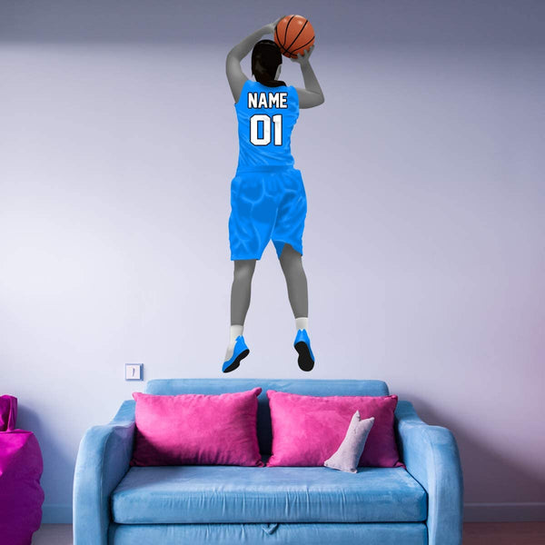 VWAQ Custom Girl Basketball Player Wall Decal - Personalized Name Sports Wall Sticker Peel and Stick - HOL50