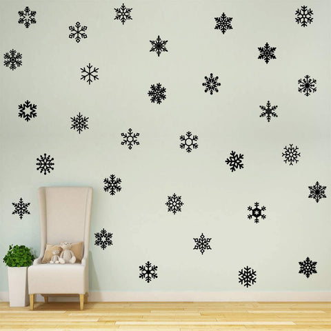 VWAQ Snowflakes Wall Decals for Girls Bedroom Peel and Stick Stickers Winter Theme Decor - 30PCS