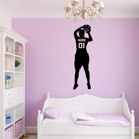 VWAQ Custom Basketball Girl Wall Decal - Personalized Name Girls Room Sports Decor - CS22