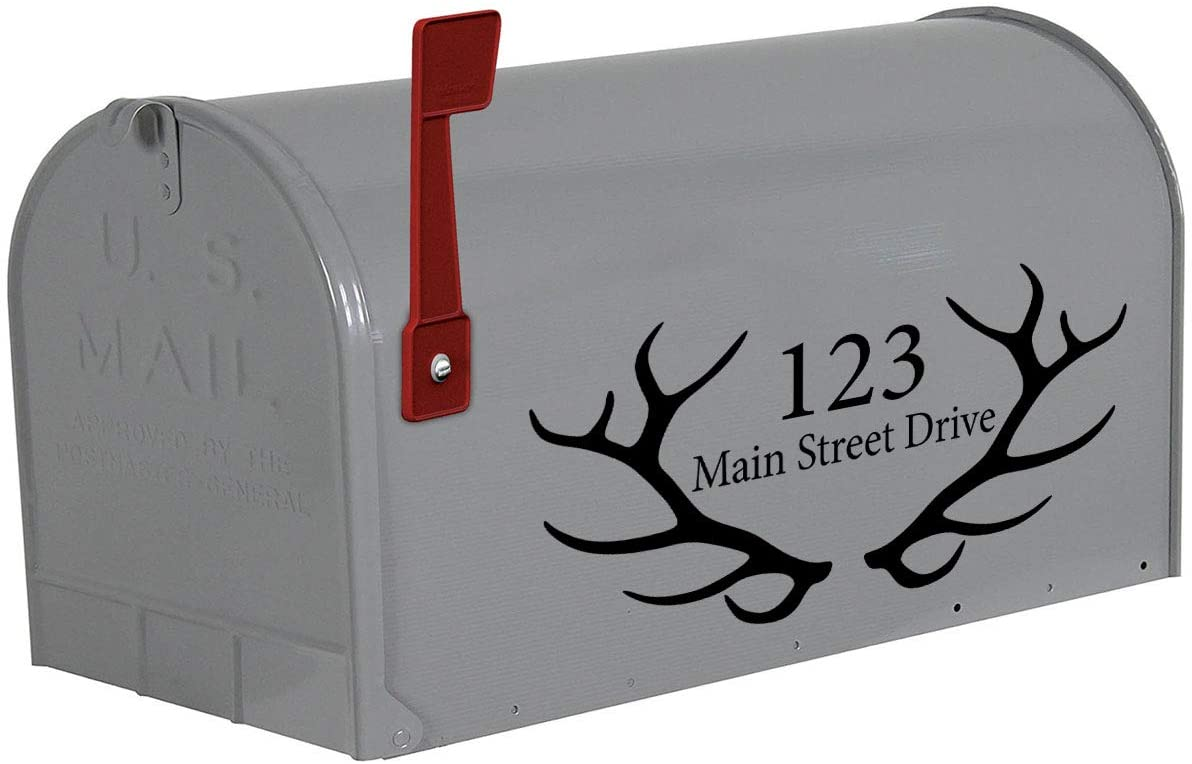 VWAQ Mailbox Decal Antlers Custom Home Address Vinyl Stickers Set of 2 - CMB27