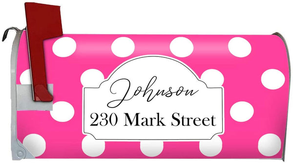 VWAQ Personalized Polka Dot Mailbox Cover Magnetic - Custom Address Mailbox Wrap - PMBM9