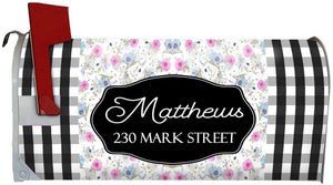 VWAQ Customized Magnetic Mailbox Cover Floral - Personalized Address Mailbox Summer Decor - PMBM10