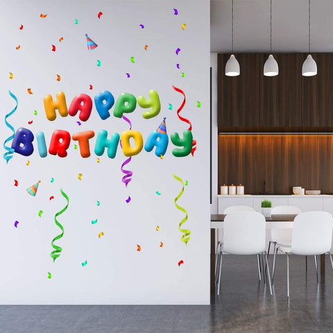VWAQ Happy Birthday Wall Decals Party Set Stickers - Peel and Stick Removable - NA13