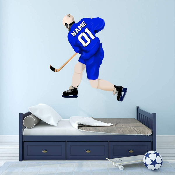 VWAQ Personalized Hockey Player Wall Sticker - Custom Name Sports Wall Decal for Boys - HOL51