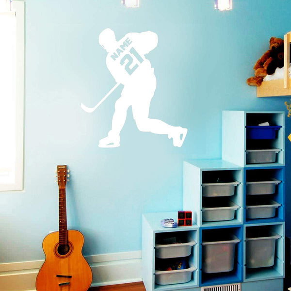 VWAQ Hockey Player Wall Decal Personalized - Custom Name Sports Wall Sticker for Boys Room - CS23