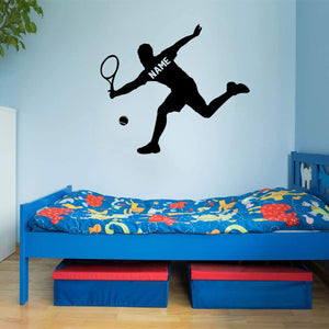VWAQ Tennis Player Wall Decal Personalized - Custom Name Sports Wall Sticker for Boys Room - CS24