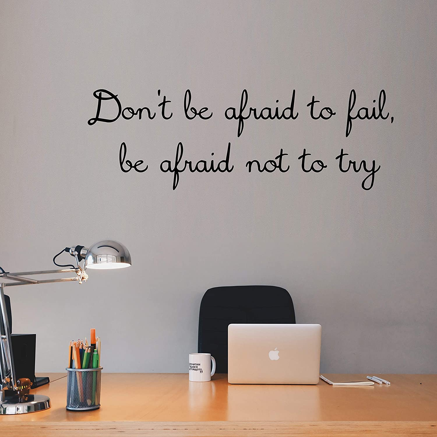 VWAQ Dont Be Afraid to Fail Be Afraid Not to Try Vinyl Wall Decal Inspiring Quotes Motivational Decor