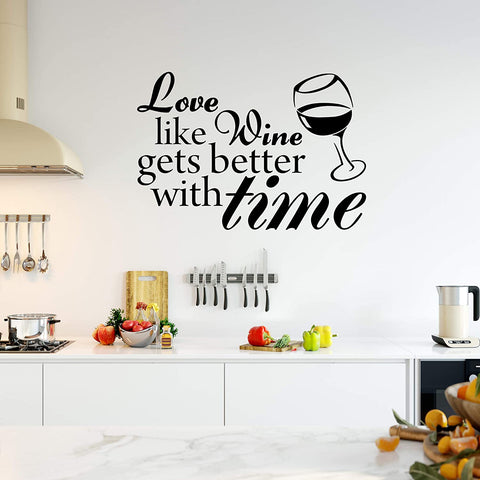 VWAQ Love Like Wine Gets Better with Time Sticker Vinyl Wall Decal Home Decor