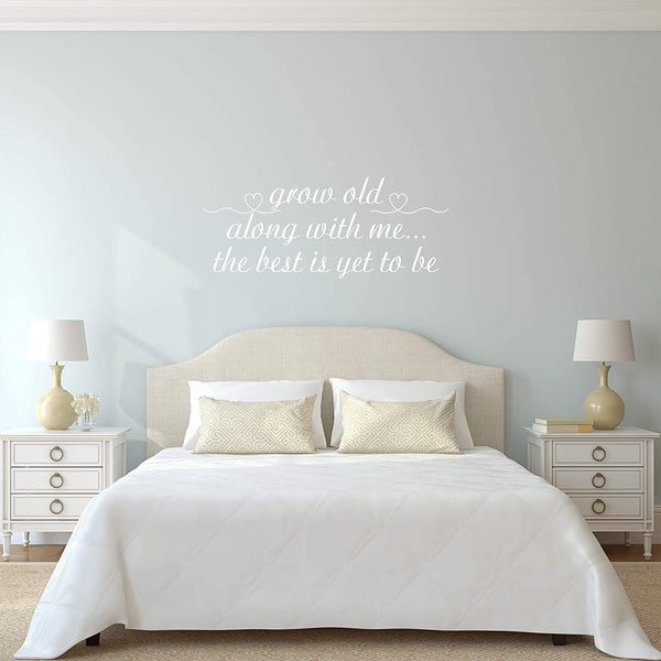 VWAQ Grow Old Along with Me Wall Decal Couples Love Bedroom Wall Quote Stickers
