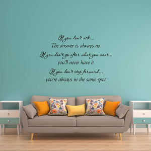 VWAQ If You Don't Ask The Answer is Always No Vinyl Wall Decal Inspirational Quotes Positive Stickers Encouraging Sayings