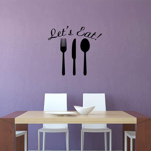 VWAQ- Let's Eat Dining Room Wall Decals Kitchen Sayings Vinyl Letters Quotes