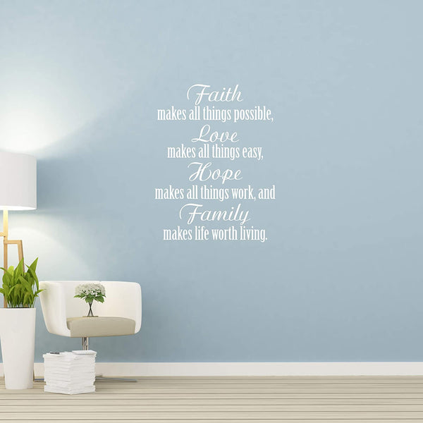 VWAQ Faith Makes All Things Possible Love Makes All Things Easy Wall Art Decal Christian Quotes Decor - V2