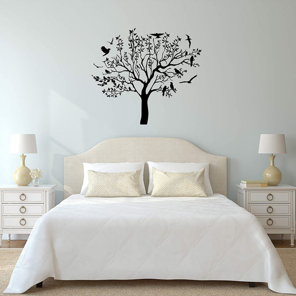VWAQ Vinyl Wall Decal Tree with Birds Branches Decor Stickers Living Room Leaves Nursery Art - V1