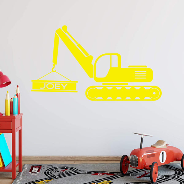 VWAQ Personalized Excavator Wall Decal Construction Truck Boys Room - CS26