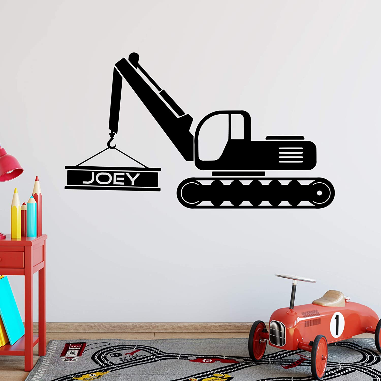 VWAQ Personalized Excavator Wall Decal Customized Boys Name Construction Truck Sticker Kids Room Decor - CS26