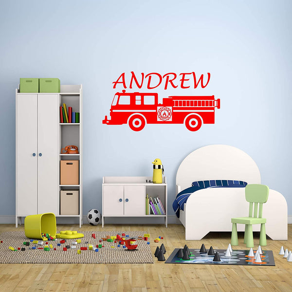 VWAQ Custom Name Firetruck Wall Stickers Boys Room Firefighter Decal Personalized Fire Truck Decor - CS27