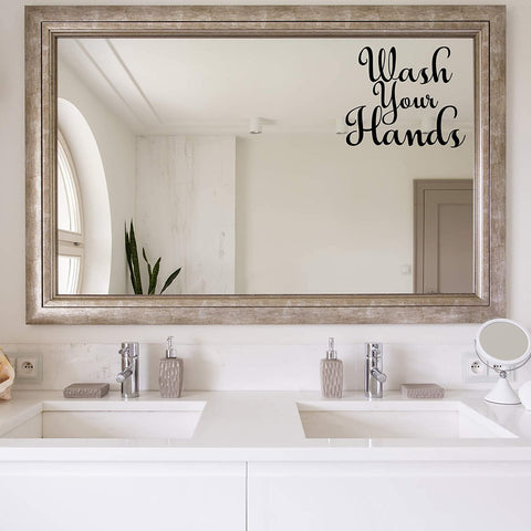 VWAQ Wash Your Hands Vinyl Decal for Mirror and Walls Bathroom Decor Restroom Sticker Art