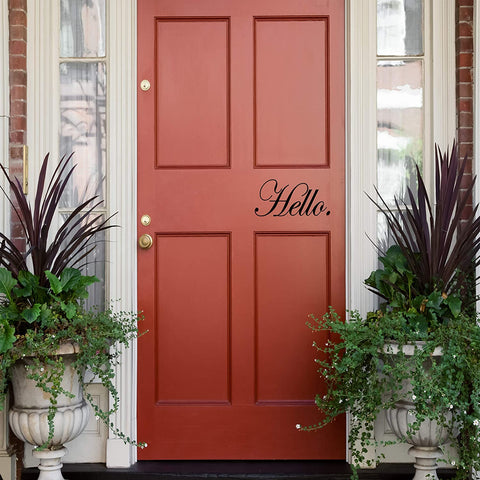 VWAQ Hello Front Door Decal Welcoming Home Decor Vinyl Sticker Lettering