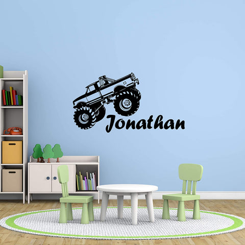 VWAQ Personalized Big Truck Name Wall Decals Custom Boys Room Kids Decor Vinyl Stickers Large - CS29