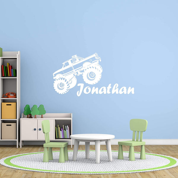 VWAQ Personalized Monster Size Big Trucks with Personalized Name Wall Decal CS29