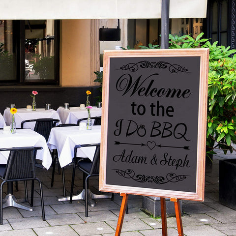 VWAQ Custom Welcome to The I Do BBQ Decal Personalized Couples Name Bride Groom Chalkboard Wedding Reception Marriage Decorations - CS31