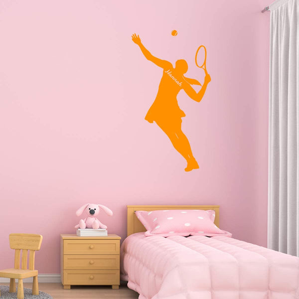 VWAQ Custom Tennis Wall Decal Girls Room Personalized Name Sports Wall Sticker - CS33