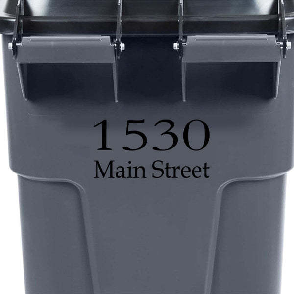 VWAQ Custom Garbage Can Decal Personalized Trash Bin Decor Address Vinyl Sticker - TC15