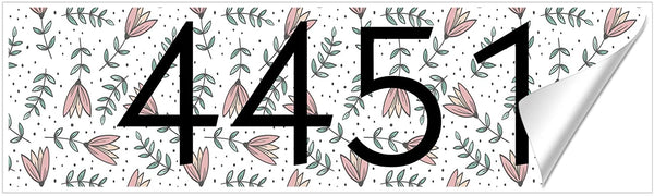 VWAQ Personalized Curb Number Decal Floral Pattern Customized Home Address Vinyl Sticker - PCCD5