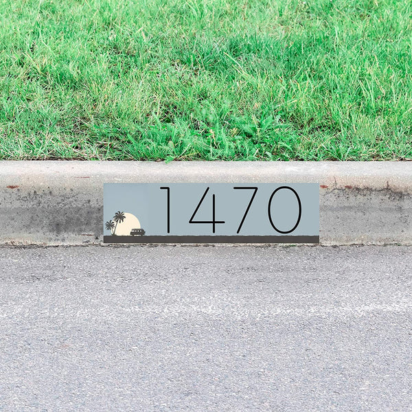 VWAQ Curb Decal Custom Home Numbers Sign Personalized Address Sticker Sunset Decor - PCCD10