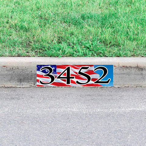 VWAQ Custom Curb Decal American Flag USA Curbside Address Sticker Personalized Street Numbers Patriotic - PCCD29