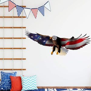 VWAQ Bald Eagle American Flag Wall Decal Patriotic Decor USA Art Decoration - NA16