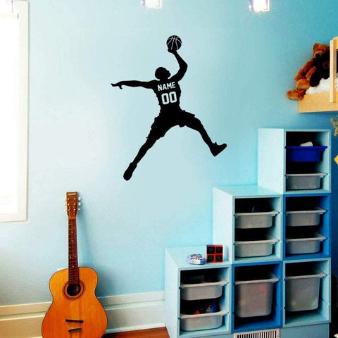 VWAQ Basketball Player Dunking Ball Wall Decal with Personalized Name - CS40