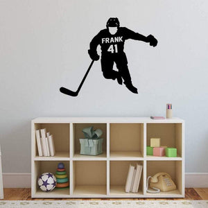 VWAQ Hockey Player Wall Decal with Personalized Name - CS41