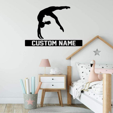 VWAQ Gymnast Silhouette Wall Decal with Personalized Name - CS43