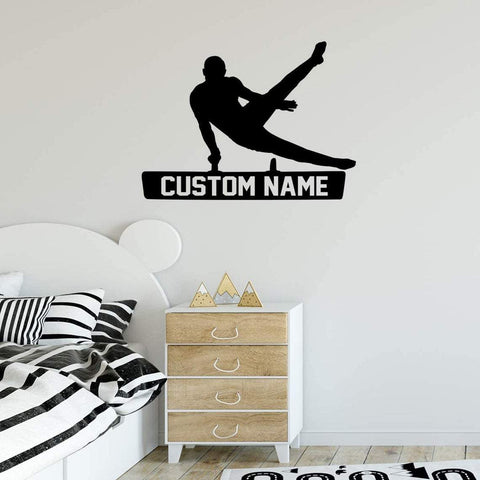 VWAQ Gymnastics Wall Decal with Personalized Name - CS44