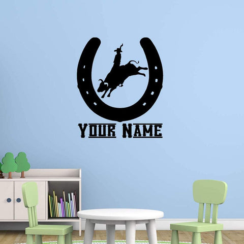 VWAQ Cowboy Rodeo Wall Decal with Personalized Name CS45