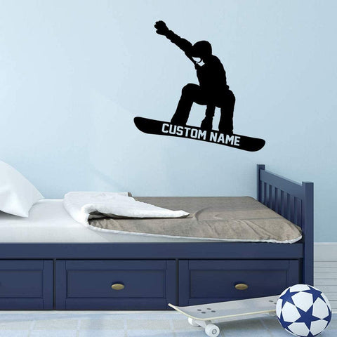 VWAQ Snowboarder Wall Decal with Personalized Name - CS46