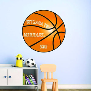 Peel and Stick Personalized Name Basketball Vinyl Wall Decal
