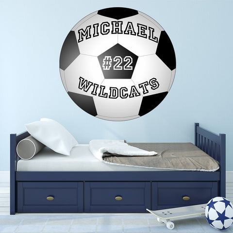 Soccer Ball Wall Decal Custom Name Personalize Sports Teams School