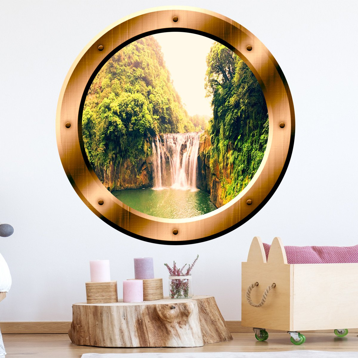 VWAQ Waterfall View Bronze Porthole Peel And Stick Vinyl Wall Decal - BP13 - VWAQ Vinyl Wall Art Quotes and Prints