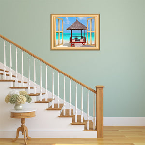 Tropical Hut 3D Window Frame Decal