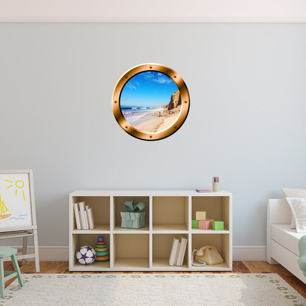 VWAQ Ocean Beach View Bronze Porthole Window Peel and Stick Vinyl Wall Decal - BP32