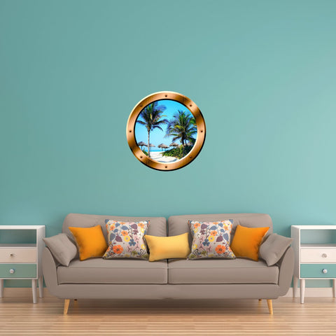 VWAQ Beach Palm Trees Scene Peel and Stick Bronze Vinyl Wall Decal Porthole - BP14 - VWAQ Vinyl Wall Art Quotes and Prints