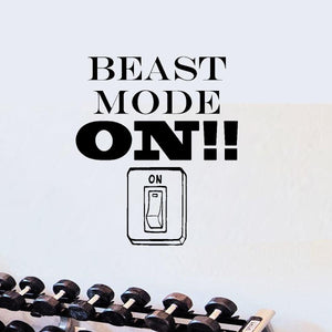 Beast Mode On! Motivational Quotes Decal Wall Art Fitness - VWAQ Vinyl Wall Art Quotes and Prints