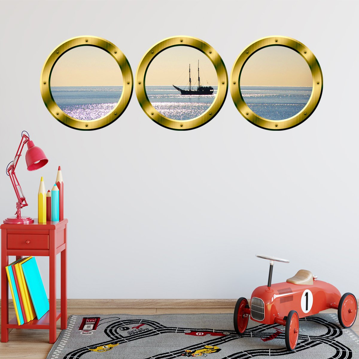 VWAQ Cruise Ship Gold Window Porthole Peel & Stick Wall Decals - GPW6 - VWAQ Vinyl Wall Art Quotes and Prints
