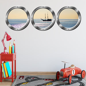 image about Printable Window Decals named VWAQ Cruise Deliver Silver Window Porthole Peel Adhere Wall Decals - SPW6
