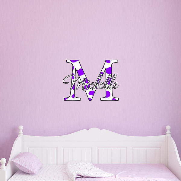 VWAQ Cow Print Monogram Custom Name Peel & Stick Wall Decal for Kids Room - CC1 - VWAQ Vinyl Wall Art Quotes and Prints
